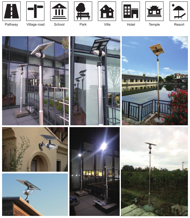 8W 1400lm Integrated Solar LED Garden Lights For Community Energy Saving