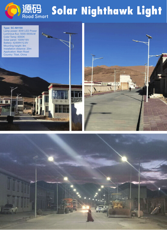 IP65 Bridgelux LED LFP Battery High Brightness Solar Street Lights 40W CE RoHS